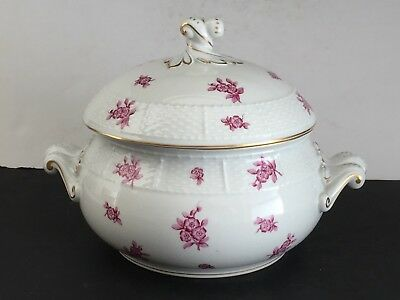 Scarce Raspberry Flower Bouquet HEREND Porcelain Covered SOUP TUREEN 28