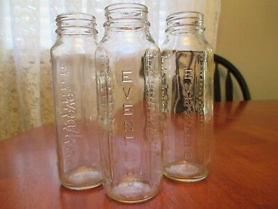 Vintage, Lot Of 3, 8 Oz Glass Evenflo Embossed Baby Bottles