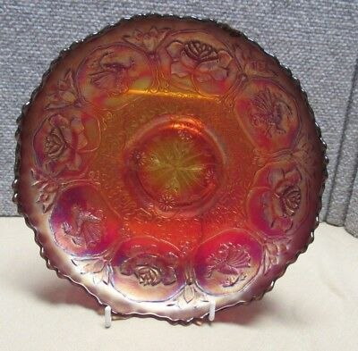 "Rare Fenton Red Carnival Glass Footed Bowl 9"" Lotus & Dragon"