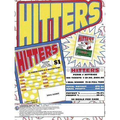 """""""Hitters"""" 1 Window Pull Tab 100 Tickets Payout $75    MADE IN THE USA"""