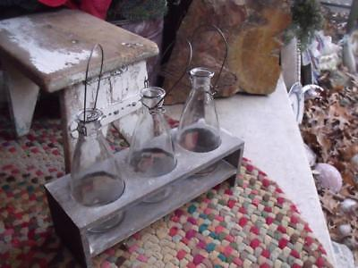VERY Cool Old Primitive Vintage Farm Find 3 Bottles in Wood Stand Cream Test or?