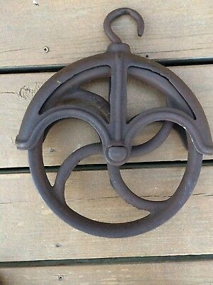 "Antique Cast Iron Water Well Pulley Wheel Vintage Barn Farm 9"" Diameter"