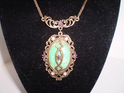 Vtg ANTIQUE Art Deco or Victorian Necklace Green Stone seed pearls Gold Tone