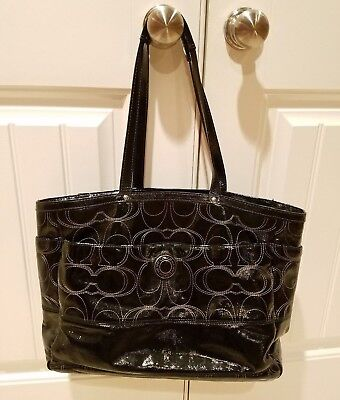 Coach Signature black Patent Leather Baby Diaper Multifunction Tote Bag F19256