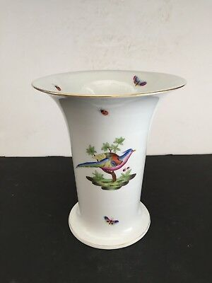 """Vintage Herend Porcelain PHEASANT Butterflies Insects VASE 6435 7"""""""