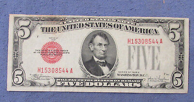 1928 United States Note Five Dollars Red Seal
