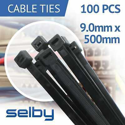 100pcs Cable Ties Zip Ties Black 9.0mm x 500mm Strong Nylon UV Stabilised