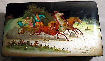 """Vintage Russian Lacquer Box Hand Painted Artist Signed 8"""""""