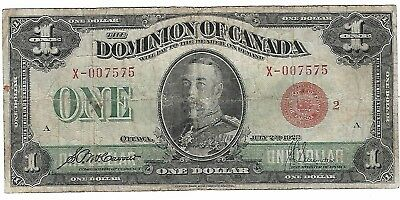 1923 Dominion Of Canada $1 One Dollar Large Bill Note