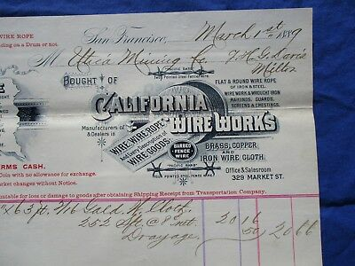 1889 GRAPHIC Telegraph Wire Works MFG.,Pacific Barb Wire,San Francisco,CA Letter