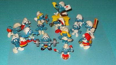 Smurf lot of 15 Smurfs Scuffed or Broke Collection Old Used Figurines