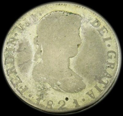 1821-Zs TH Mexico 8 Reales War of Independence Zacatecas Silver Coin - KM#111.6