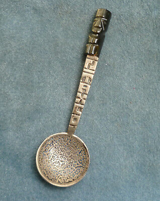 Taxco Mexico Mayan Calendar Sterling Souvenir Spoon Carved Stone Top