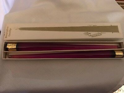 "Vintage Mid Century Acrylic Lucite Faux Candles 11"" Purple NOS Boxed"