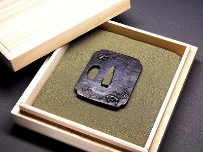 "Fine TANTO TSUBA 18-19th C Japanese Edo Antique Koshirae fitting ""Hovses"" e677b"