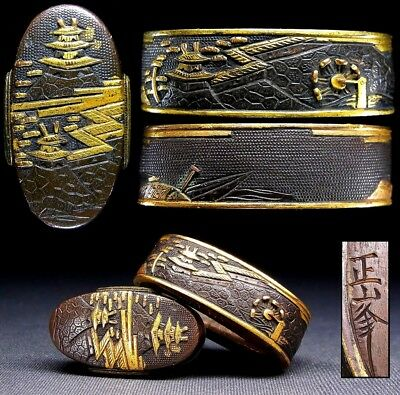 "Signed FUCHI/KASHIRA 18-19thC Japanese Edo Antique for Koshirae ""Castle"" e689"