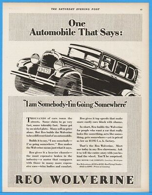 1928 Reo Wolverine Motor Car Ad Lansing MI Somebody Going Somewhere Art Deco