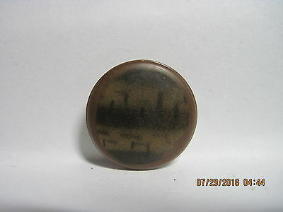 Antique 1800's/1900's Brown & Black 'tiger Striped' Celluloid/metal Button