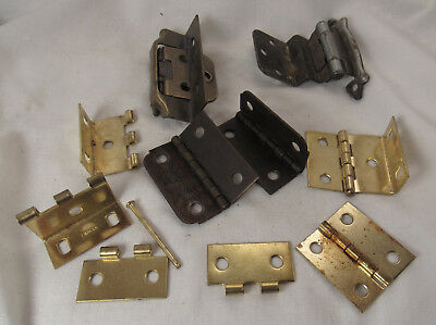 "lot of 7 & parts Small 2"" + Cabinet door Hinges Hardware"