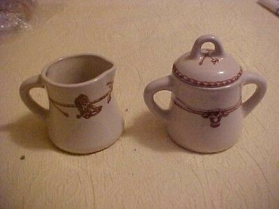 CREAMER AND SUGAR with Red Cowboy design, Hat, Boots Sky Ranch Santa Fe
