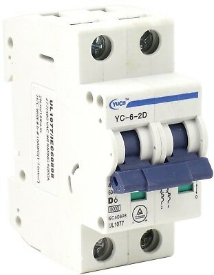 1 Pole, 63 Amp YC-63-1D with 6 Din Rail and 2 Screws Yuco Miniature Circuit Breaker D Curve 277//480VAC 115//220VDC