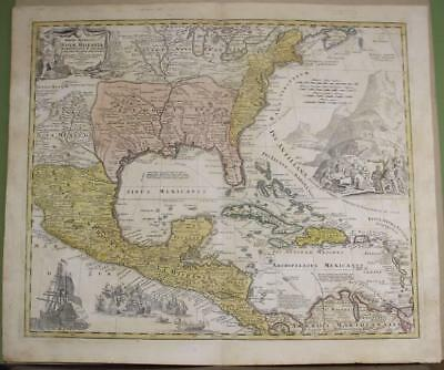 West Indies Florida United States Central America 1715 Homann Antique Map