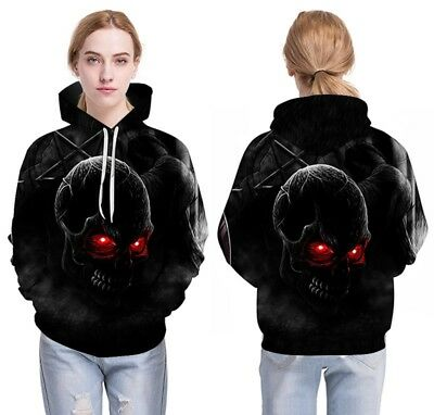 New Hot Sell Red Eyes Skull Digital Printing Uniform Hooded Couple Coats B1634