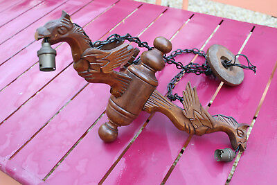 Antique Hand Carved Wooden Figural Mythical Gothic Chandelier Dragons