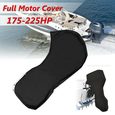 600D Black Boat Full Outboard Engine Cover Fit For 175 To 225HP Motor Waterproof