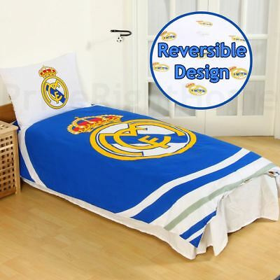Real Madrid Cf Pulse Single Duvet Cover Set Childrens Boys - 2 In 1 Design