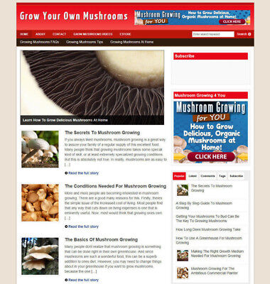 Grow Mushrooms Website With Articles + Uk Affiliate Store + Banners & Domain