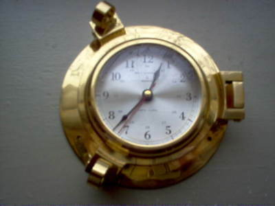 Solid Brass Quartz Bell Co. Ship's Nautical Port Hole Clock, Works Well