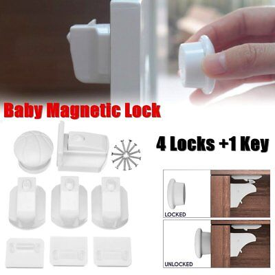 4x Invisible Magnetic Baby Safety Cabinet Lock Protect Child Kid Drawer Security