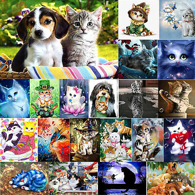 DIY 5D Dog Cat Puppy Diamond Painting Embroidery Cross Stitch Kits Images Crafts