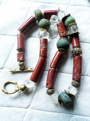 African necklace, antique pipestone, rock crystal and Hebron Beads, Trade Beads