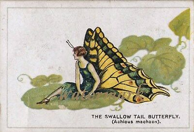 Antique Vintage Trade Card Flapper Butterfly Moth Girls Fabric Quilt Block 9008