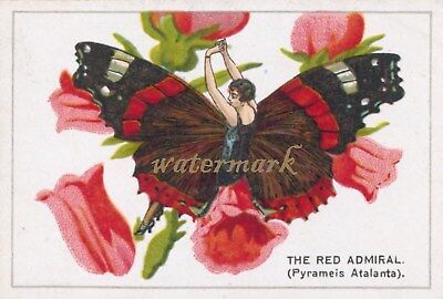 Antique Vintage Trade Card Flapper Butterfly Moth Girls Fabric Quilt Block 9014