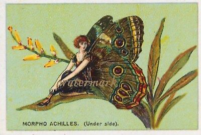 Antique Vintage Trade Card Flapper Butterfly Moth Girls Fabric Quilt Block 9015