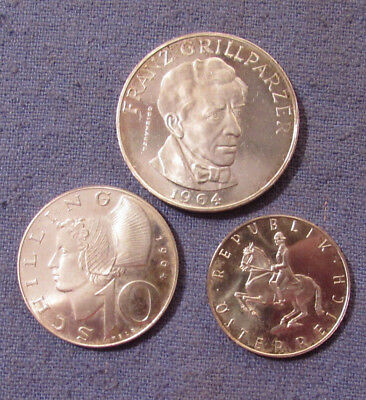 1964 Austria 3 Silver Coins Lot 25 10 & 5 Shilling Nice Condition