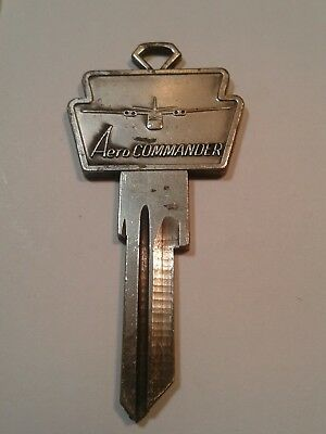 Vintage Aero Commander Key Blank Very Nice Condition Old With Airplane Uncut Key
