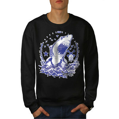 Killer Shark Art Vintage Men Sweatshirt NEW | Wellcoda
