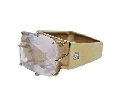 H. Stern Sunrise Rose Quartz Diamond 18k Gold Ring