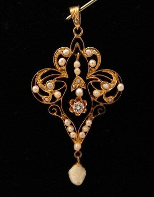 Antique Victorian Large 10K Gold Pearl Diamond Lavalier Pendant