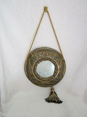 Antique Chinese Painted Tin Feng Shui Mirror Floral Design  ca: 1920's