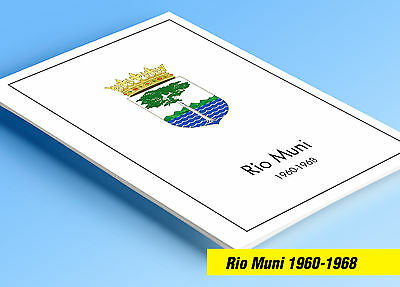 COLOR PRINTED RIO MUNI 1960-1968 STAMP ALBUM PAGES (8 illustrated pages)