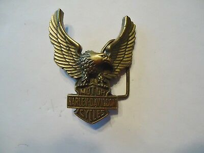 Harley- Davidson Motorcycles Solid Brass Belt Buckle By Baron 1979 Taiwan, #6135