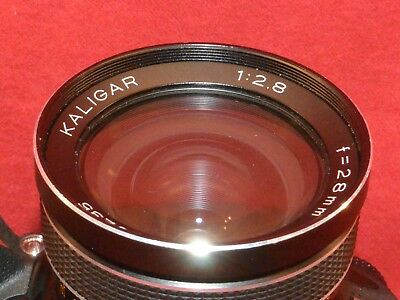 Vintage Kaligar 1:2.8 f=28mm Auto Wide Angle Lens Nikon mount.  Lens has Issue