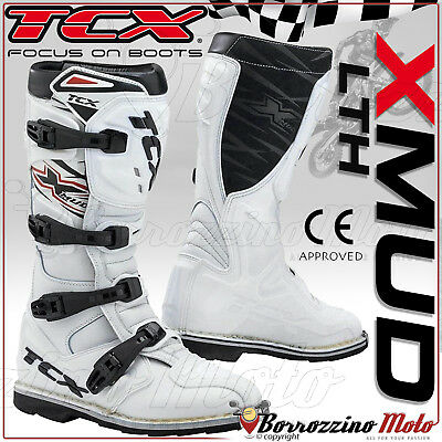 Stivali Tcx Off-Road X-Mud Bianco Pelle Moto Cross Quad Enduro Rinforzati N. 42