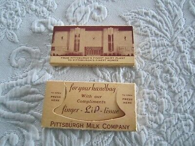 2 Vintage Finger LIP LIPSTICK TISSUE PACKETS Compliments  of Pittsburgh Milk Co