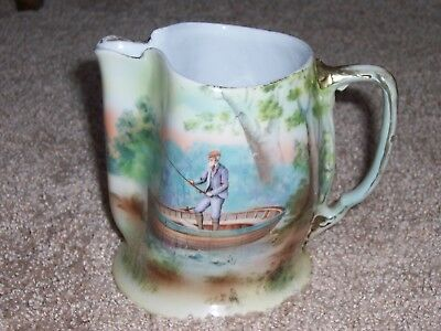 """Antique Vintage Royal Bayreuth Pitcher Old Man in Fishing Boat Scene 5"""" Tall"""